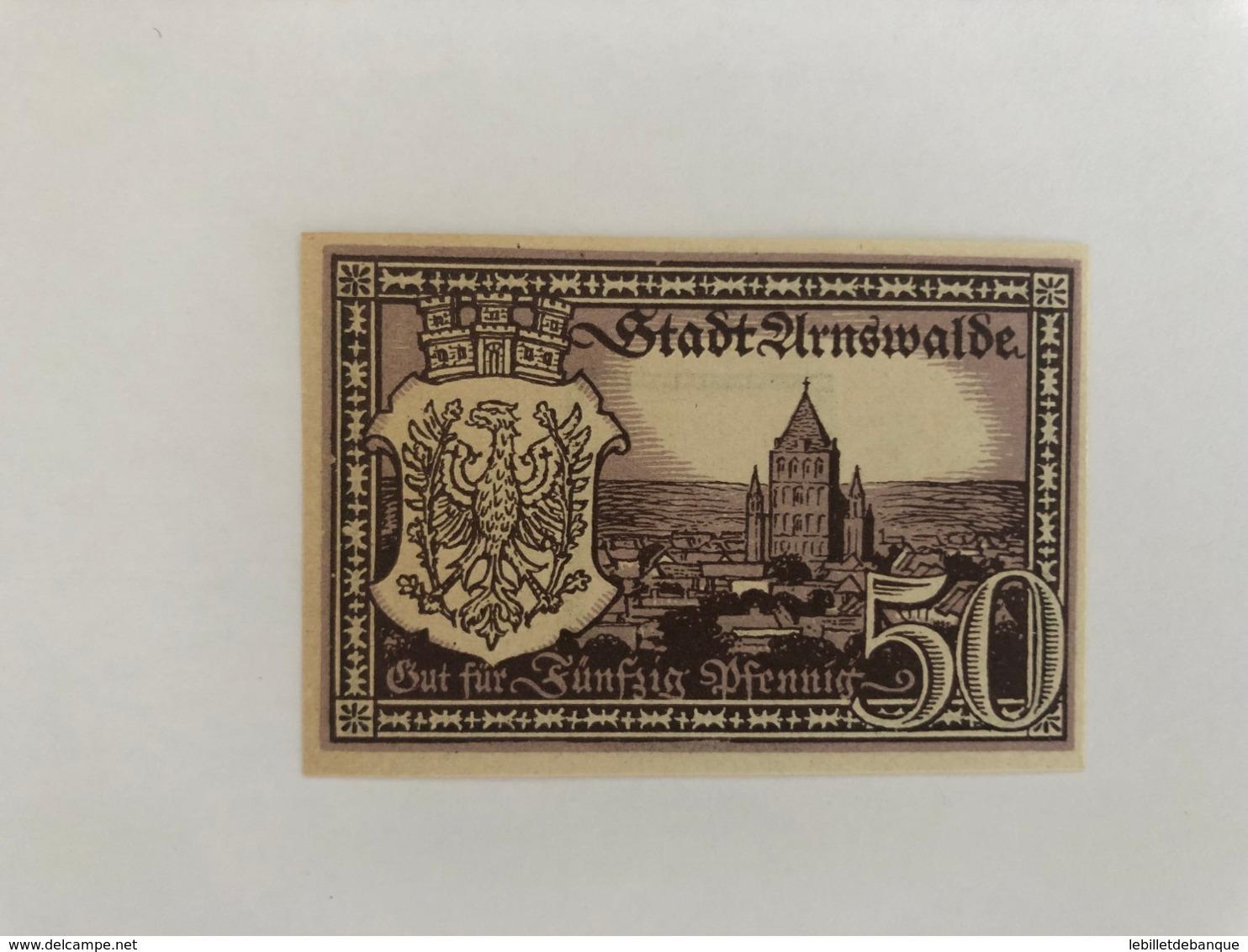 Allemagne Notgeld Arnswalde 50 Pfennig - [ 3] 1918-1933 : République De Weimar