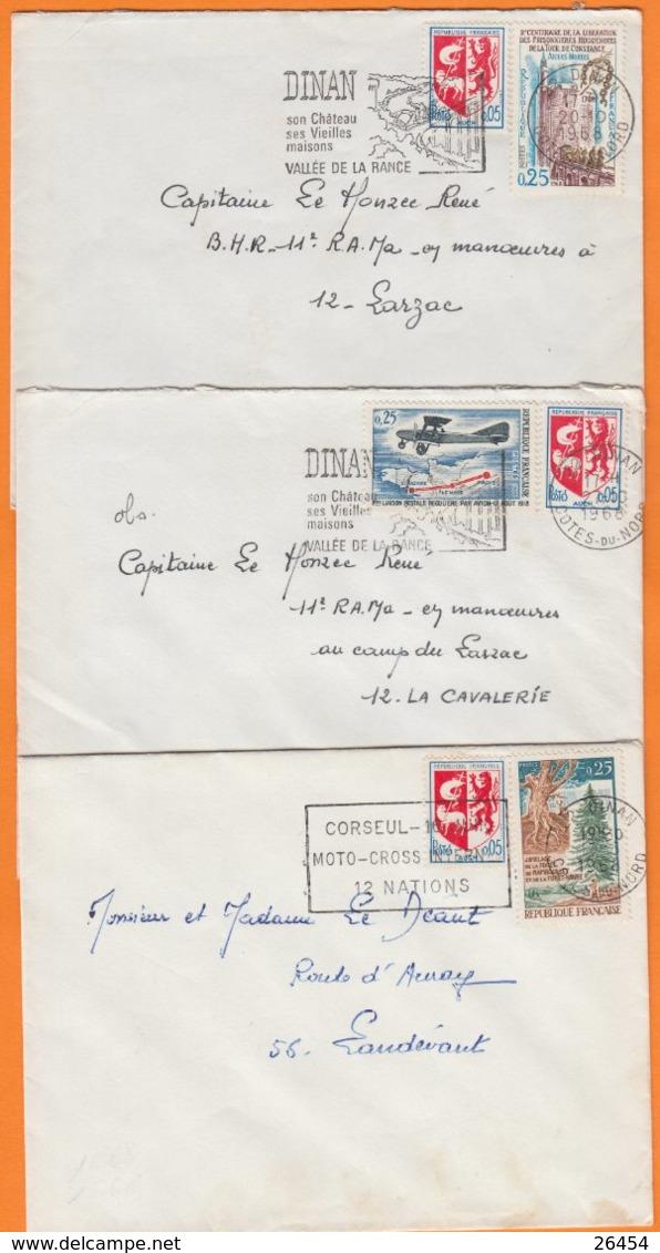 22 COTES Du NORD  Lot De 3 Lettres  De DINAN  Année 1968  Avec Affranchissements 2 Timbres - Postmark Collection (Covers)