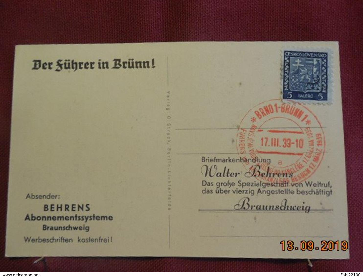 Carte De 1939 Avec Cachet Allemand Au Depart De Brno - Bohême & Moravie