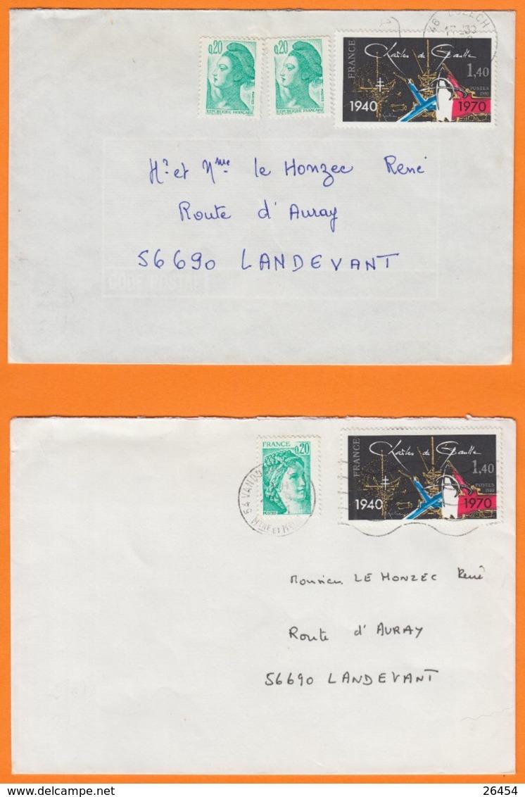 CHARLES De GAULLE  1940-1970  1f40 Sur 2 Lettres Avec Affranchissements Composés Du 54 Et 46   Pour 56690 LANDEVANT - Marcophilie (Lettres)