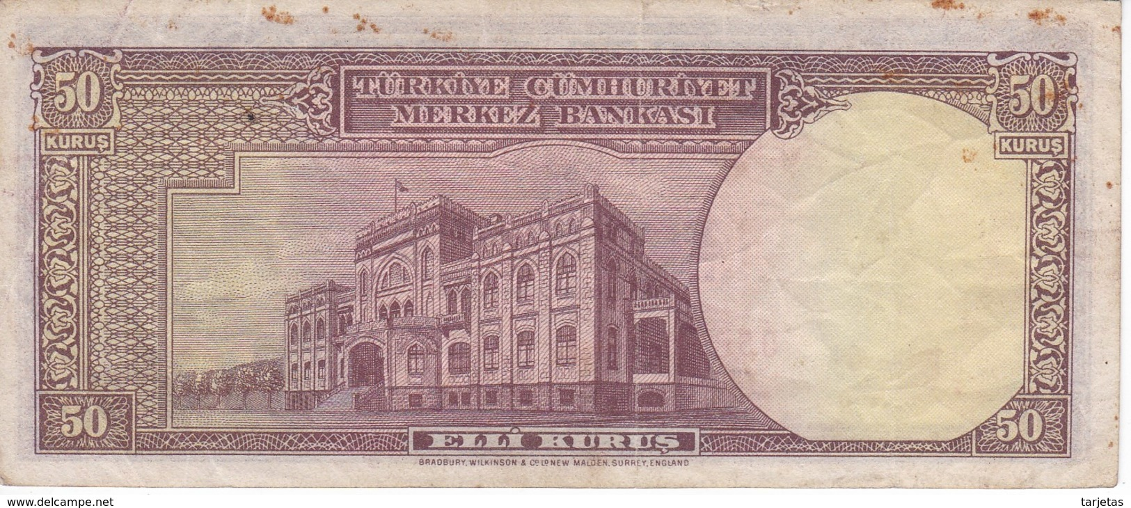 BILLETE DE TURQUIA DE 50 KURUS DEL AÑO 1930  (BANKNOTE) - Turchia