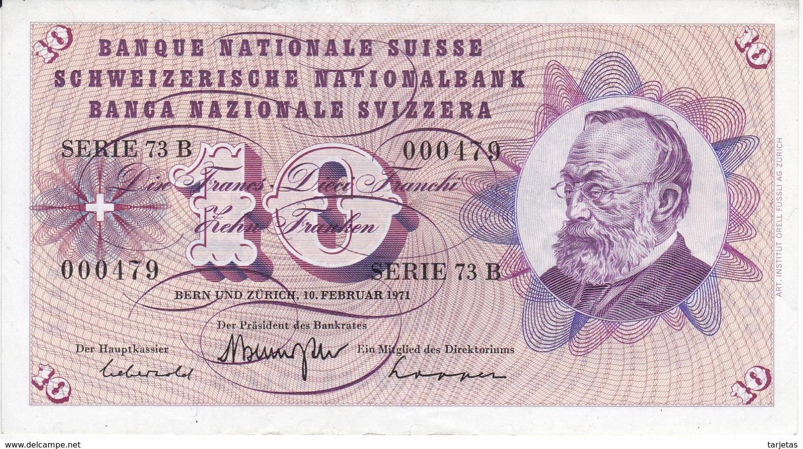 BILLETE DE SUIZA DE 10 FRANCS DEL AÑO 1971 EN CALIDAD EBC (XF) (BANKNOTE) - Suiza