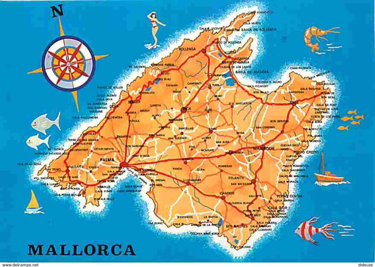 Espagne - Mallorca - Carte Géographique - Voir Scans Recto-Verso - Mallorca