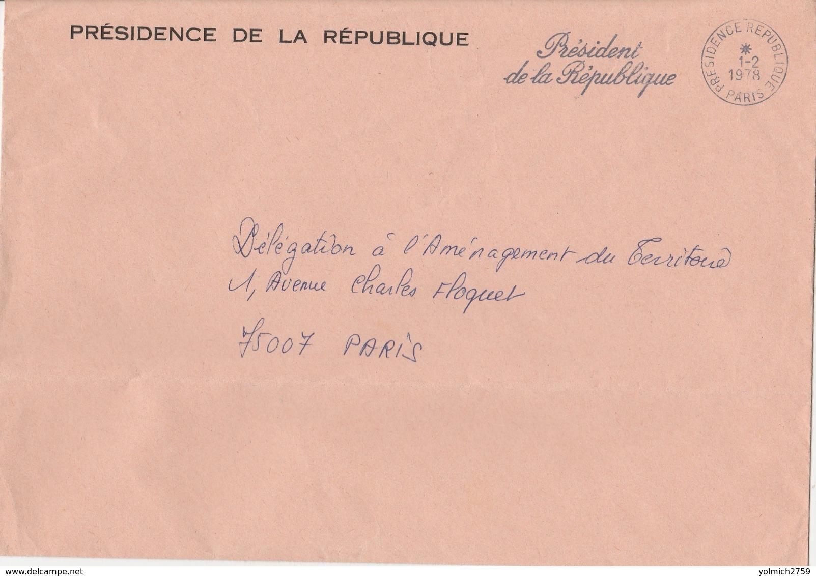 OBLIT. PRÉSIDENCE De La RÉPUBLIQUE 1.2.78 - Pli Sur Longueur - Storia Postale