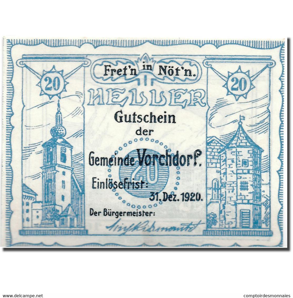 Billet, Autriche, Vorchdorf, 20 Heller, Paysage, 1920, SPL, Mehl:FS 1119a - Oesterreich