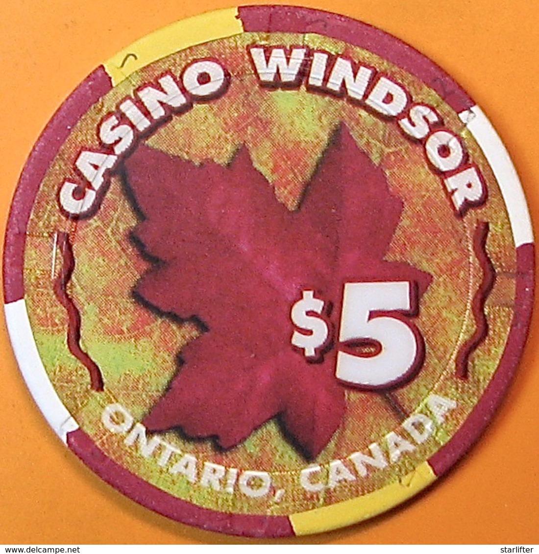 $5 Casino Chip. Casino Windsor, Ontario, Canada. Q06. - Casino