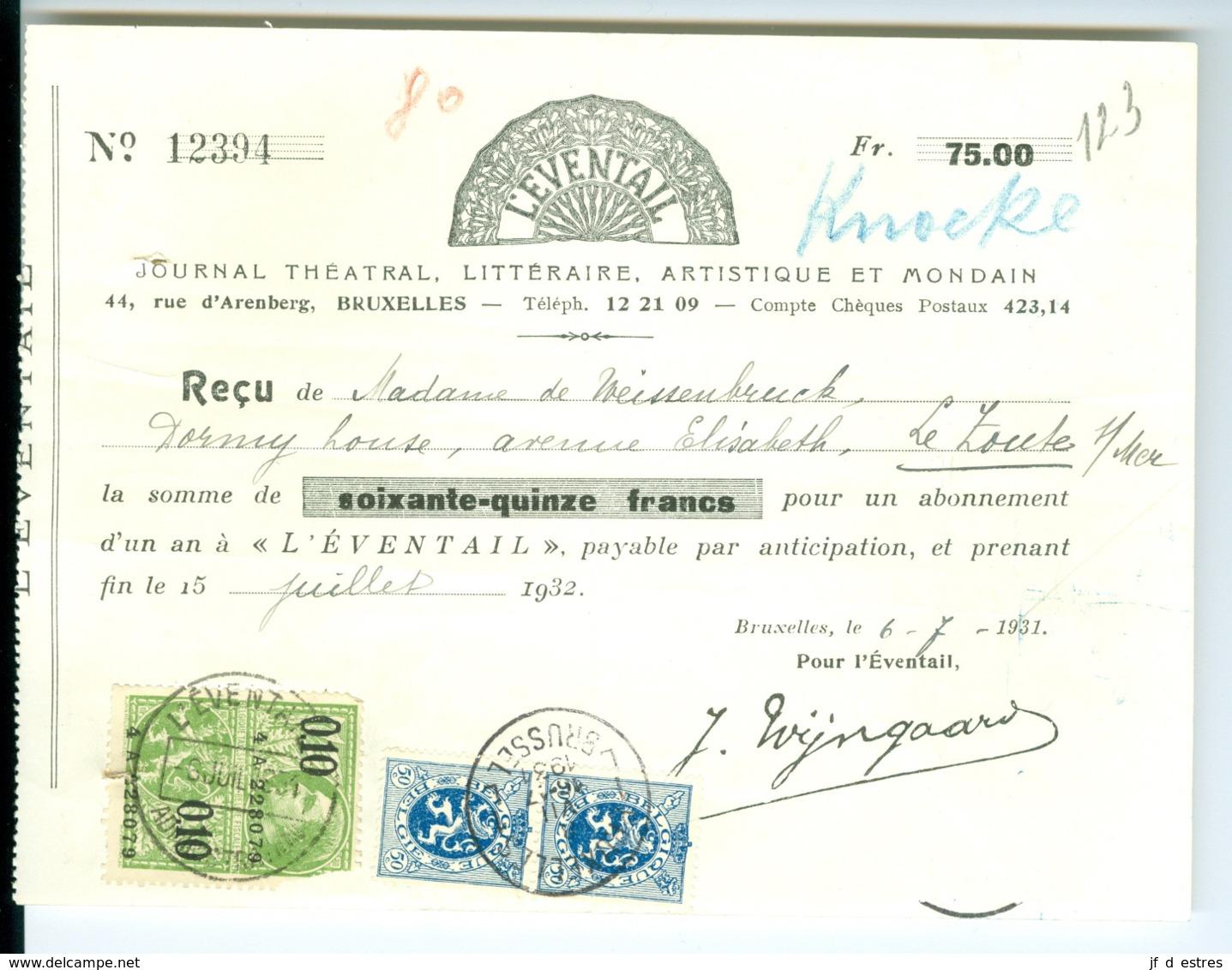 6 Documents Commerciaux (lettre, Factures, Reçus Acquittés Et Timbrés) Pour Revues (L'éventail; Clarté; Indicateur.)1931 - Printing & Stationeries