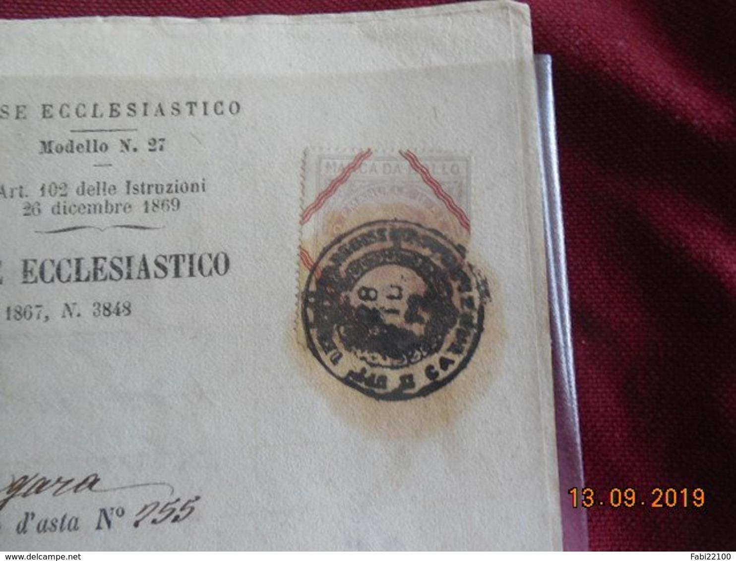 Italie 1872...certificat De Vente Par Adjudication - Italie
