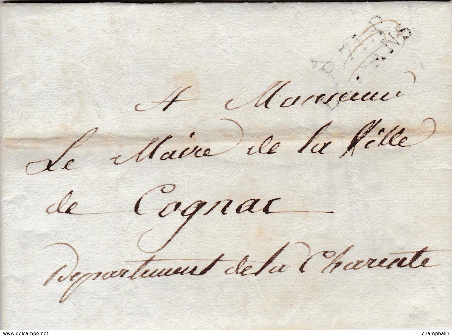 LAC De Le Mans (72) Pour Cognac (16) - 27 Juin 1808 - Marque Linéaire P.71.P LE MANS - Port Payé - Eau De Vie - 1801-1848: Precursori XIX