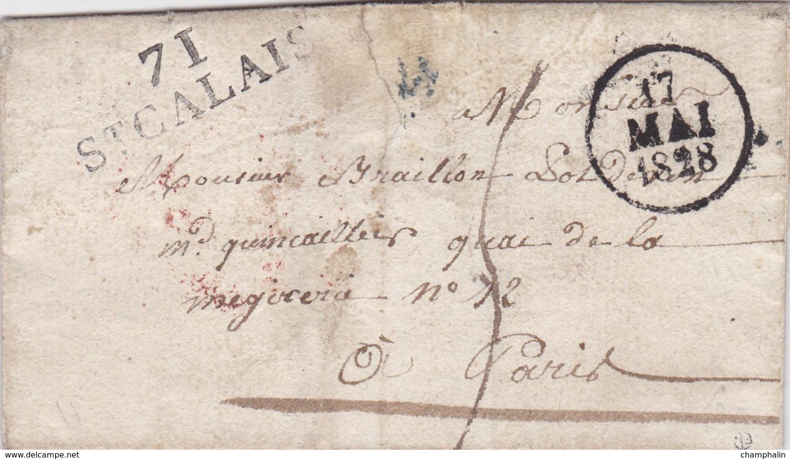 PSC De Saint-Calais (72) Pour Paris (75) - 17 Mai 1828 - Marque Linéaire 71 StCALAIS - TM 5 - Cachet Dateur A & 1209 - 1801-1848: Precursori XIX