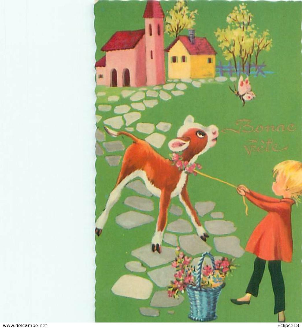Bonne Fete - Vache Enfant    C 916 - Fêtes - Voeux