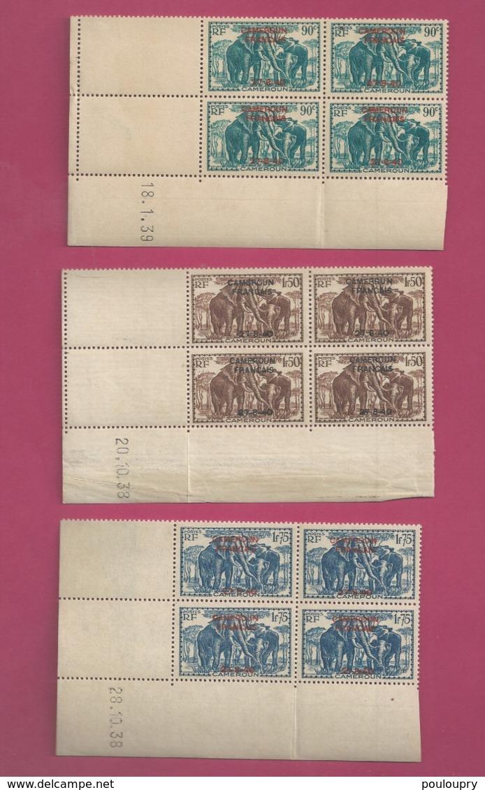 YT N° 222**, 225** Et 227**  En Bloc De 4 CDF Daté - Cameroun (1915-1959)