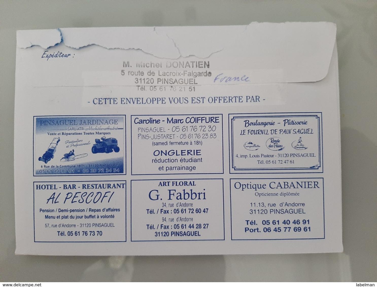PINSAGUEL GARONNE BOURSE TOUTES COLLECTIONS TOULOUSE FRANCE ENVELOPE LETTER AIRMAIL STAMP CACHET - Etiketten Van Hotels
