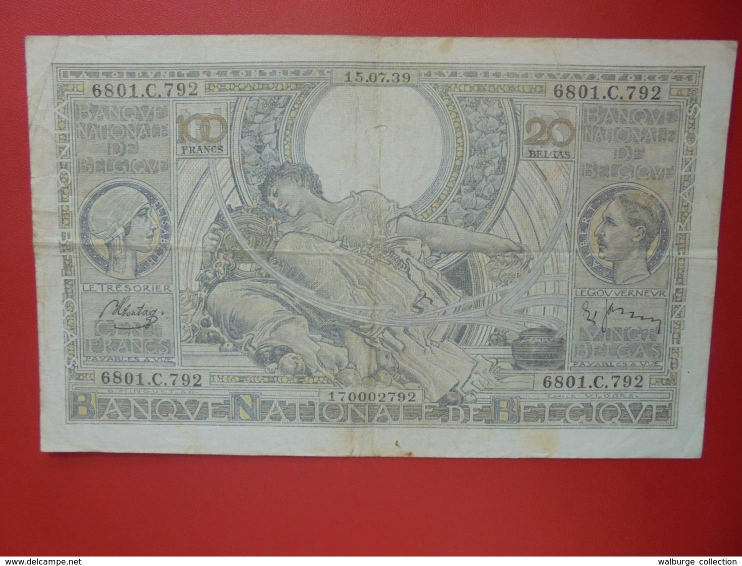 BELGIQUE 100 FRANCS 1939 CIRCULER (B.8) - [ 2] 1831-... : Regno Del Belgio