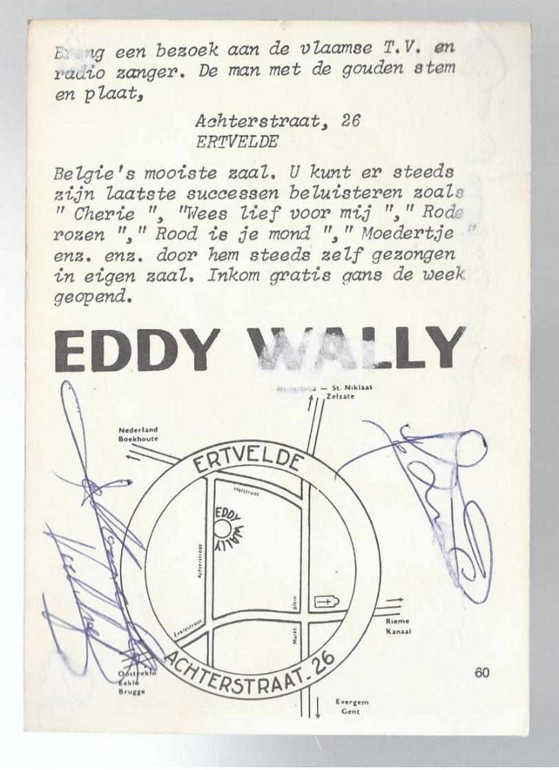 EDDY WALLY MET HANDTEKENING - Chanteurs & Musiciens