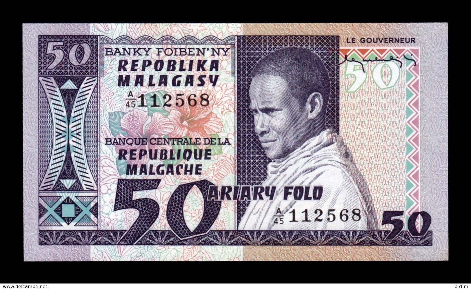 Madagascar 50 Francs = 10 Ariary 1974-1975 Pick 62 A/45 SC UNC - Madagascar