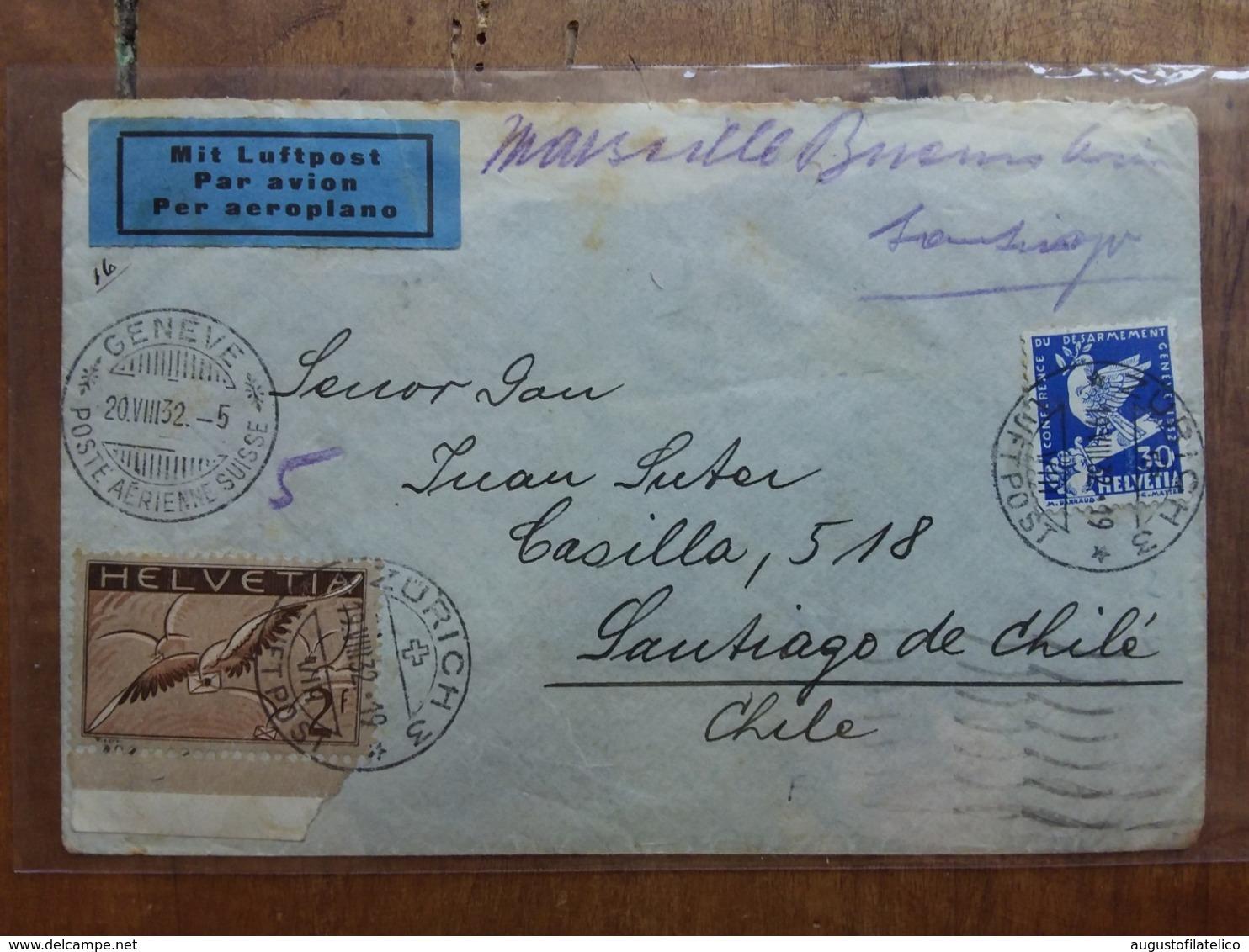 SVIZZERA 1932 - Lettera Spedita Con Posta Aerea Dalla Svizzera In Cile (con Francobollo Da 2 Franchi) - Annulli Arrivo - Luftpost