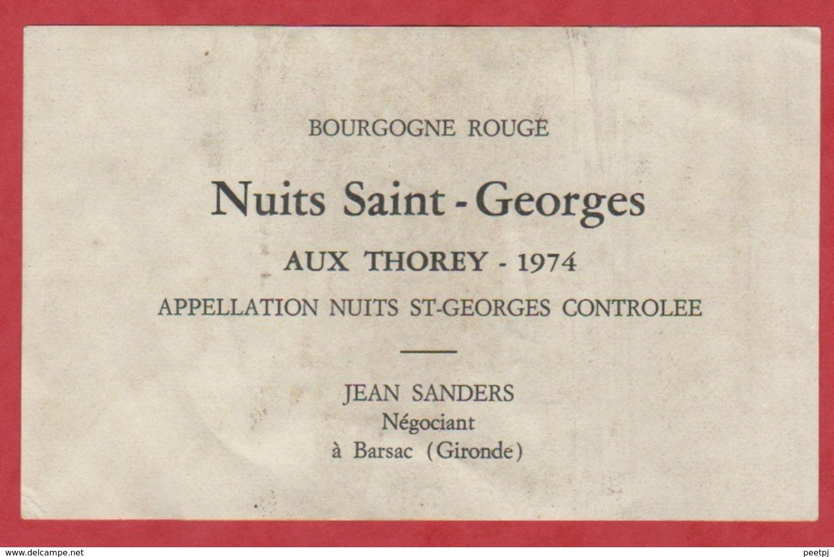 Etiquette - Vin - France - Bourgogne - 1974 - Nuits Saint-Georges Aux Thorey. - Etiquettes