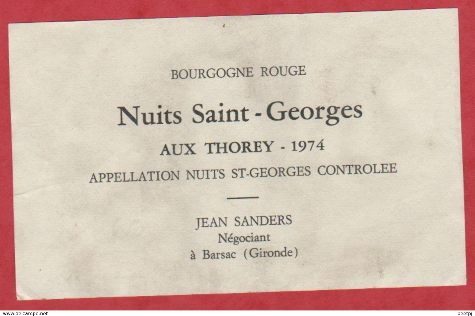 Etiquette - Vin - France - Nuits St-Georges - 1974 - Nuits St-Georges Aux Thorey. - Etiquettes