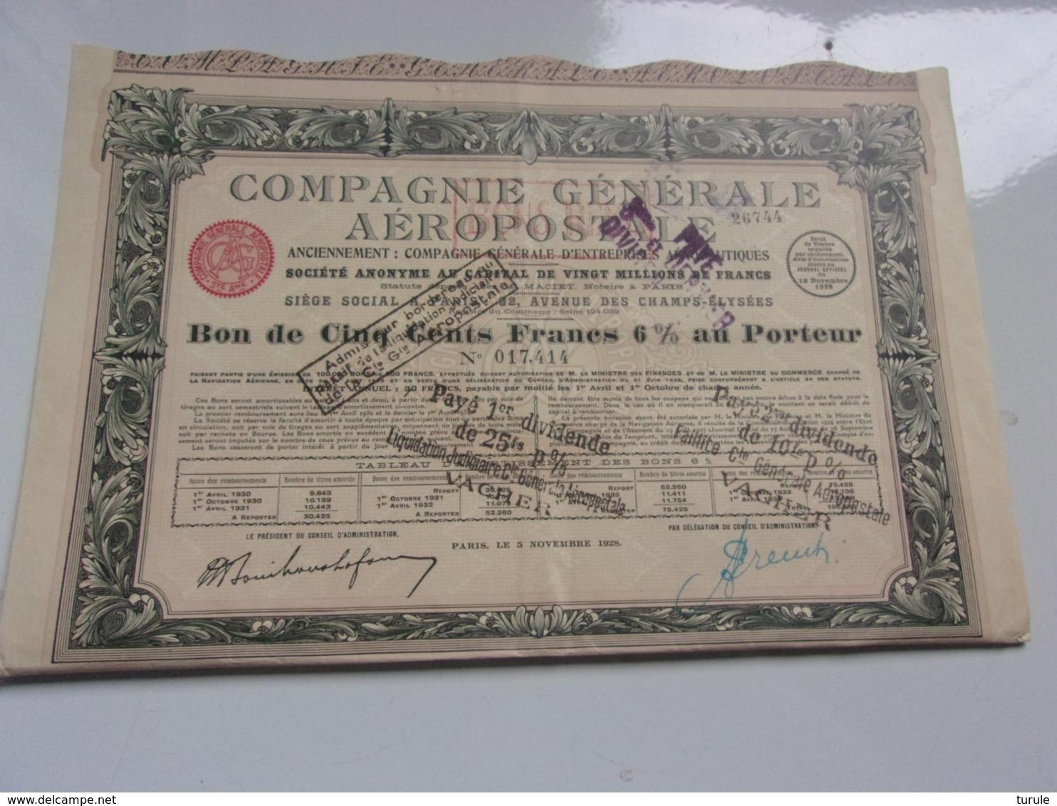 COMPAGNIE GENERALE AEROPOSTALE (bon De 500 Francs 6%) Imprimerie RICHARD - Shareholdings