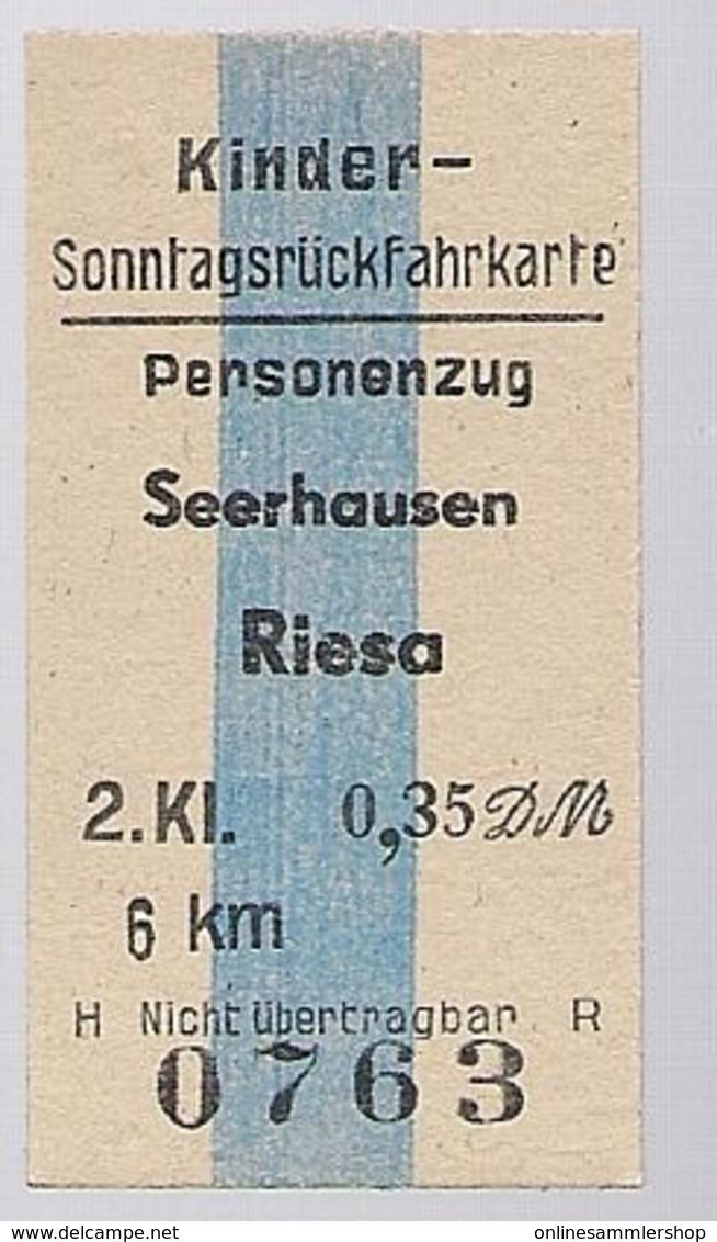 BRD - Pappfahrkarte  (DR) --> Seerhausen Nach Riesa ( Sonntagsrück ) - Bahn