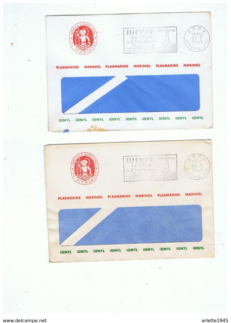 LETTRES CACHET P. P. DIEPPE PLASMARINE MARINOL IONYL  1962  1963 - Poststempel (Briefe)
