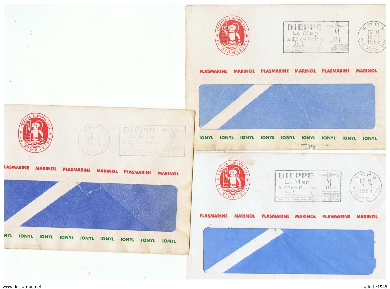 LETTRES CACHET P. P. DIEPPE PLASMARINE MARINOL IONYL  1961  1962  1963 - Postmark Collection (Covers)