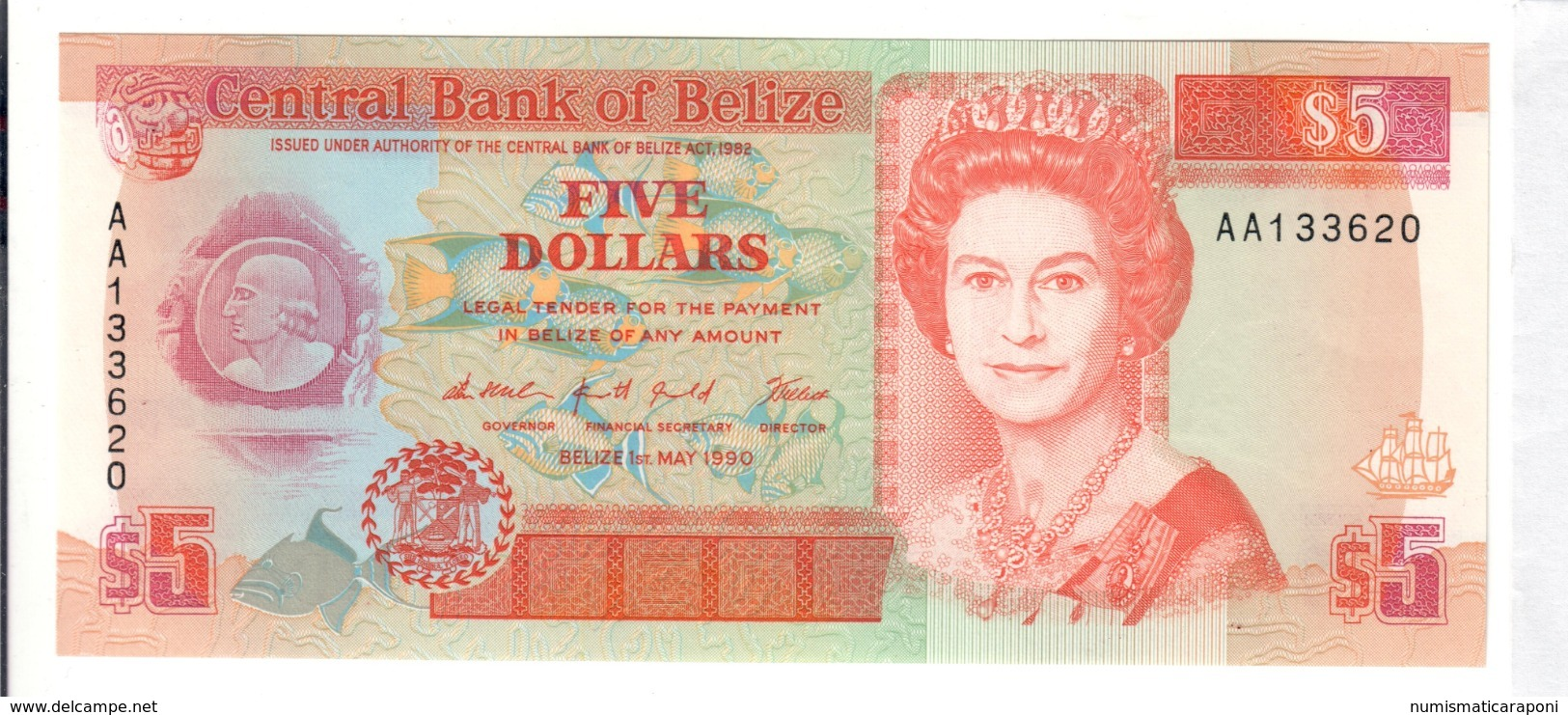 Belize 5 $ 1990 Serie AA About Unc Q.fds Lotto 2809 - Belize