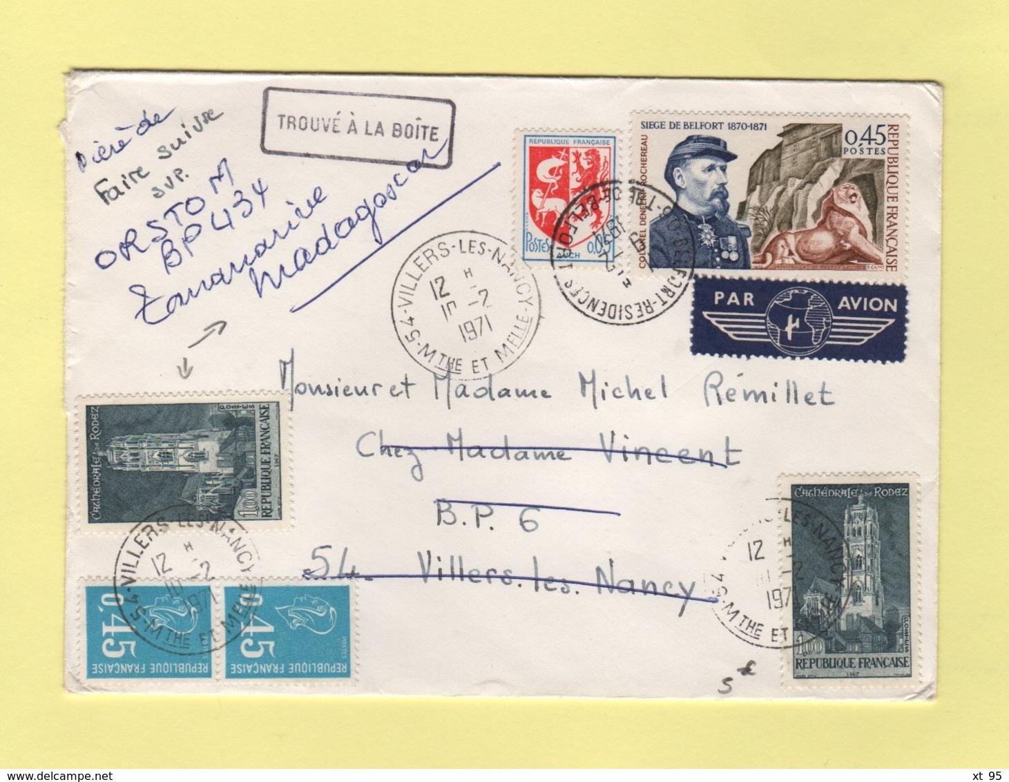 Lettre De Villers Les Nancy Reexpediee Avec Nouvel Affranchissement Vers Madagascar - 1971 - Trouve A La Boite - Postmark Collection (Covers)