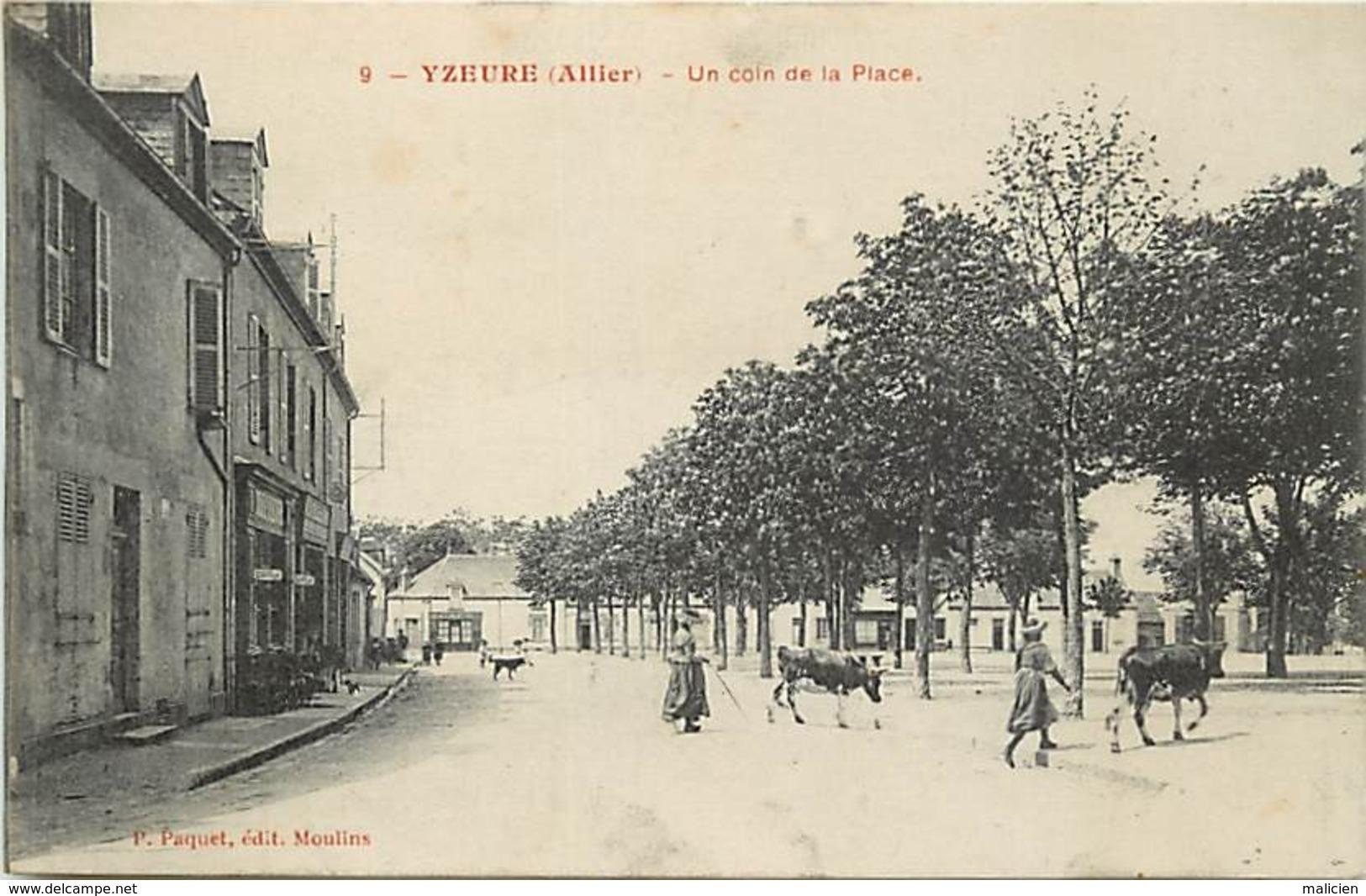 - Allier -ref-C473- Yzeure - Un Coin De La Place - Coiffeur- Café - Vachères Et Vaches - Carte Bon Etat - - France