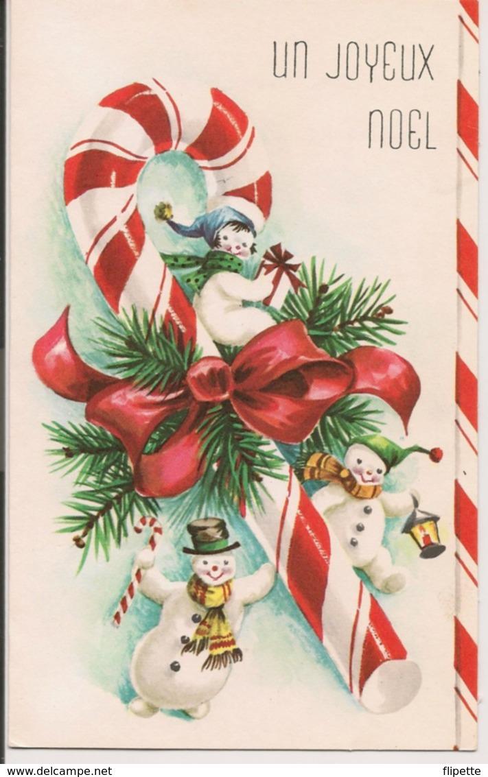 L120B666 - Joyeux Noel - Bonhommes De Neige Et Friandise - Carte Ouvrante Imprimée Au Canada - Christmas