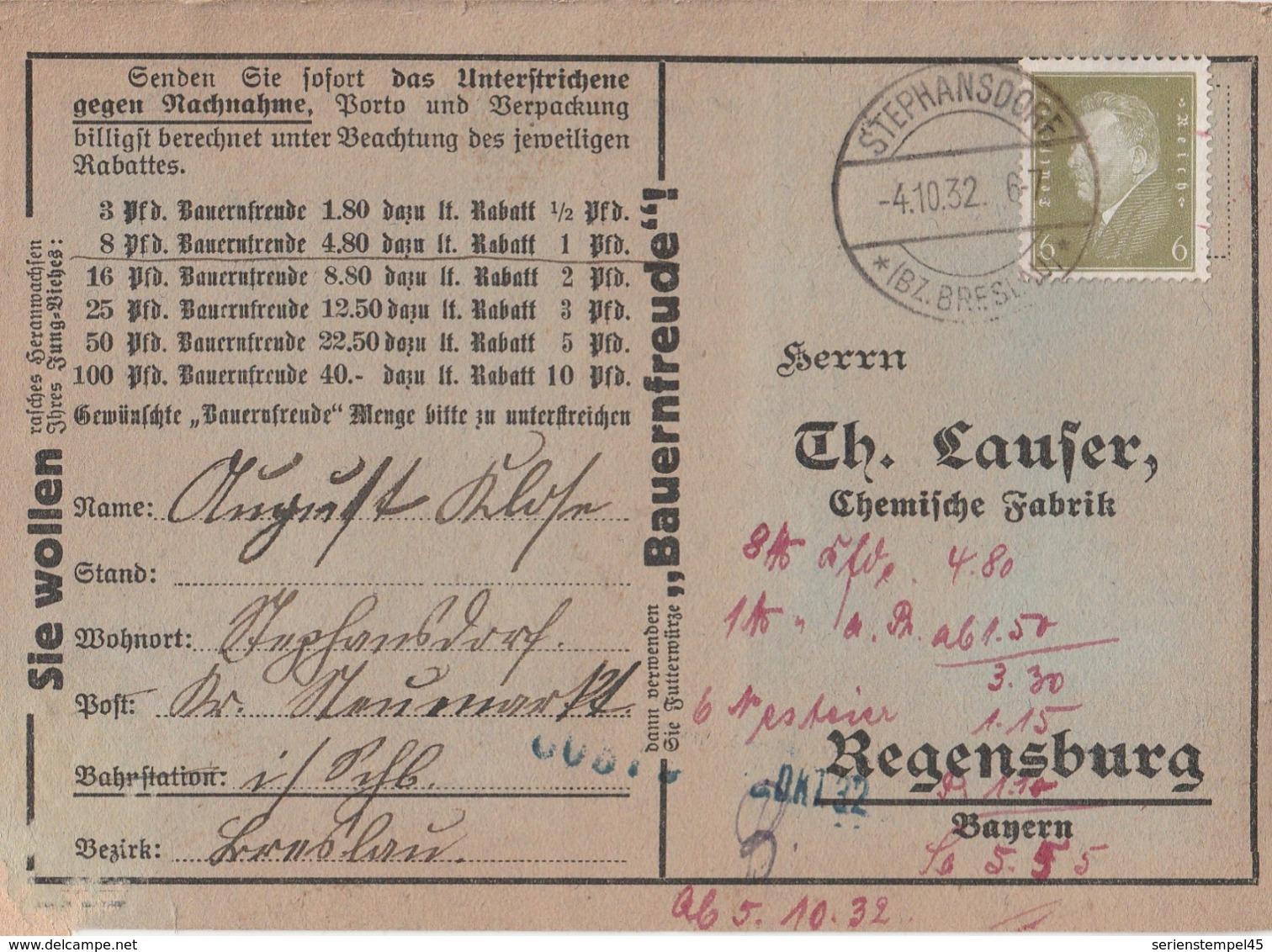 Schlesien Deutsches Reich Karte Mit Tagesstempel Stephansdorf Bz Breslau 1932 LK Neumarkt RB Breslau - Deutschland