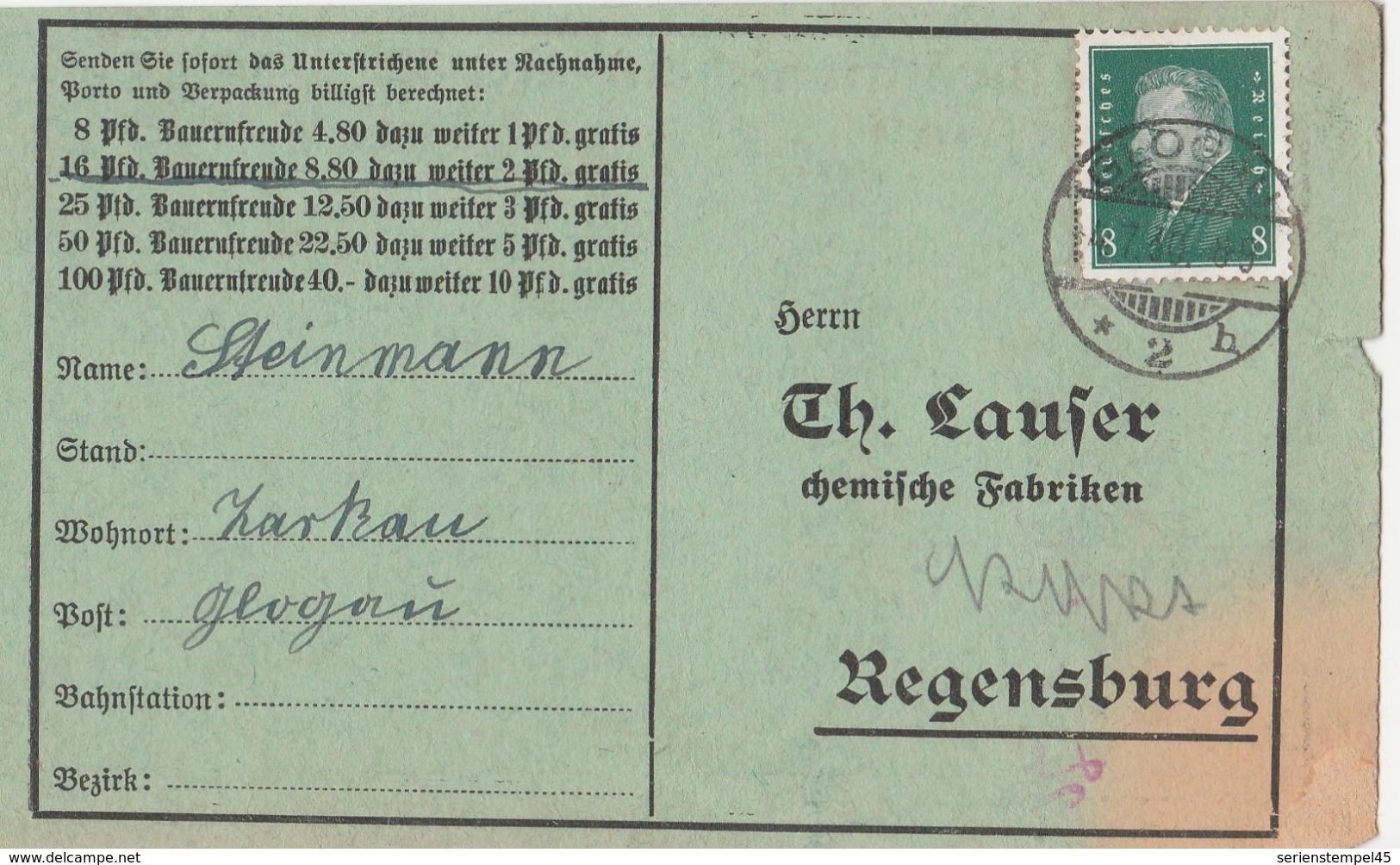 Schlesien Deutsches Reich Karte Mit Tagesstempel Glogau *2h 1930 LK Glogau RB Breslau - Deutschland