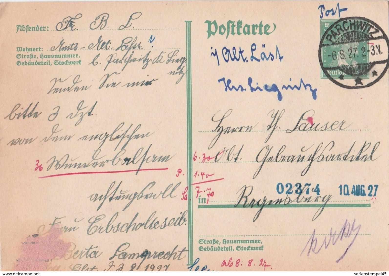 Schlesien Deutsches Reich Karte Mit Tagesstempel Parchwitz *** 1927 LK Liegnitz  RB Liegnitz - Deutschland