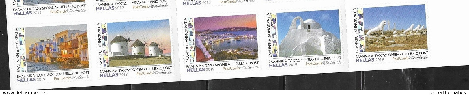 GREECE, 2019, MNH, TOURISM, MYKONOS,  ARCHAEOLOGY, WINDMILLS, HARBOUR, BOATS, LION STATUES, 5v Ex. BOOKLET - Holidays & Tourism