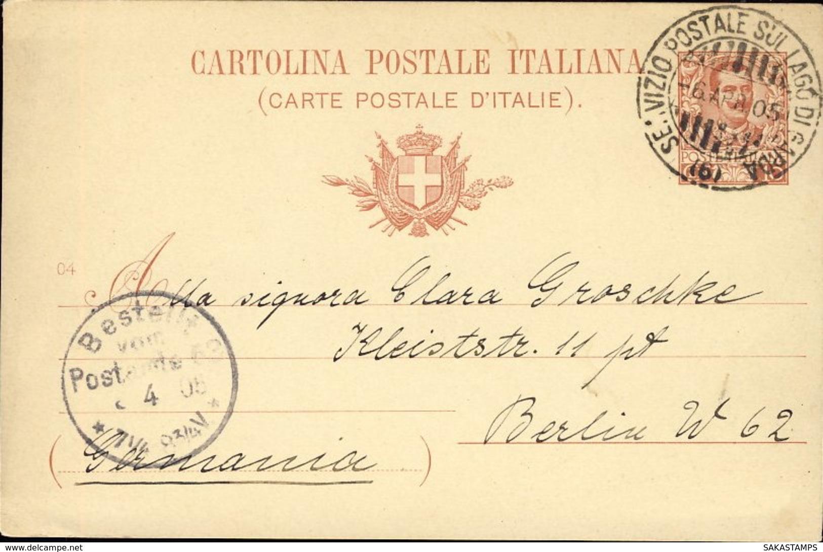1905-intero Postale 10c. Annullo Servizio Postale Lago Di Garda 6, Diretto In Germania - Brescia
