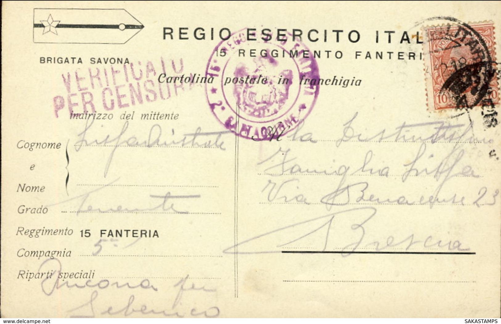 1918-cartolina In Franchigia Regio Esercito Italiano 15' Reggimento Fanteria  Viaggiata Non Catalogata Dal Colla-Cerruto - Guerra 1914-18