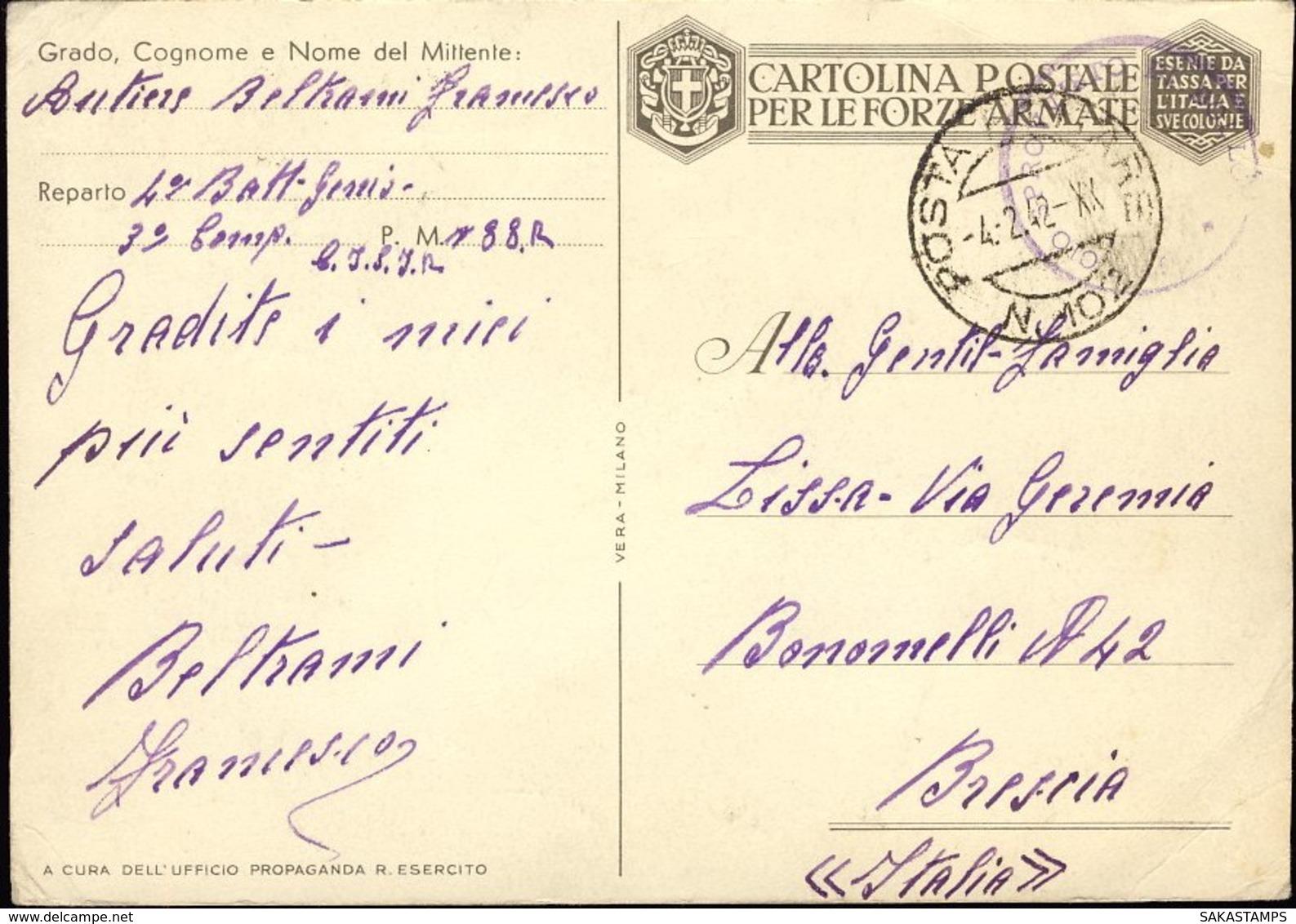 1942-Antibolscevismo Tripartito E Piovra URSS Cartolina In Franchigia Dis.Casolare Viaggiata - Guerre 1939-45