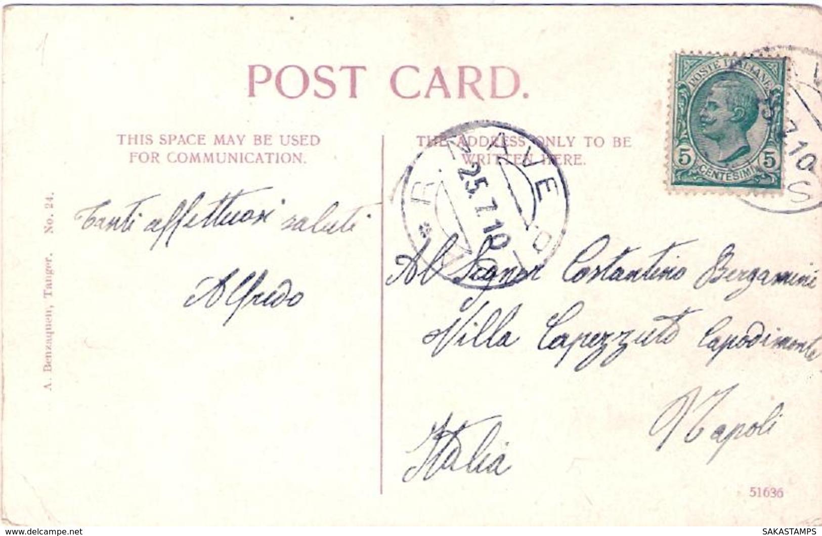 1910- Cartolina Con Annullo Regia Nave Pisa Monumento Di Wellington In Gibilterra Affrancata 5c. Leoni - 1900-44 Vittorio Emanuele III
