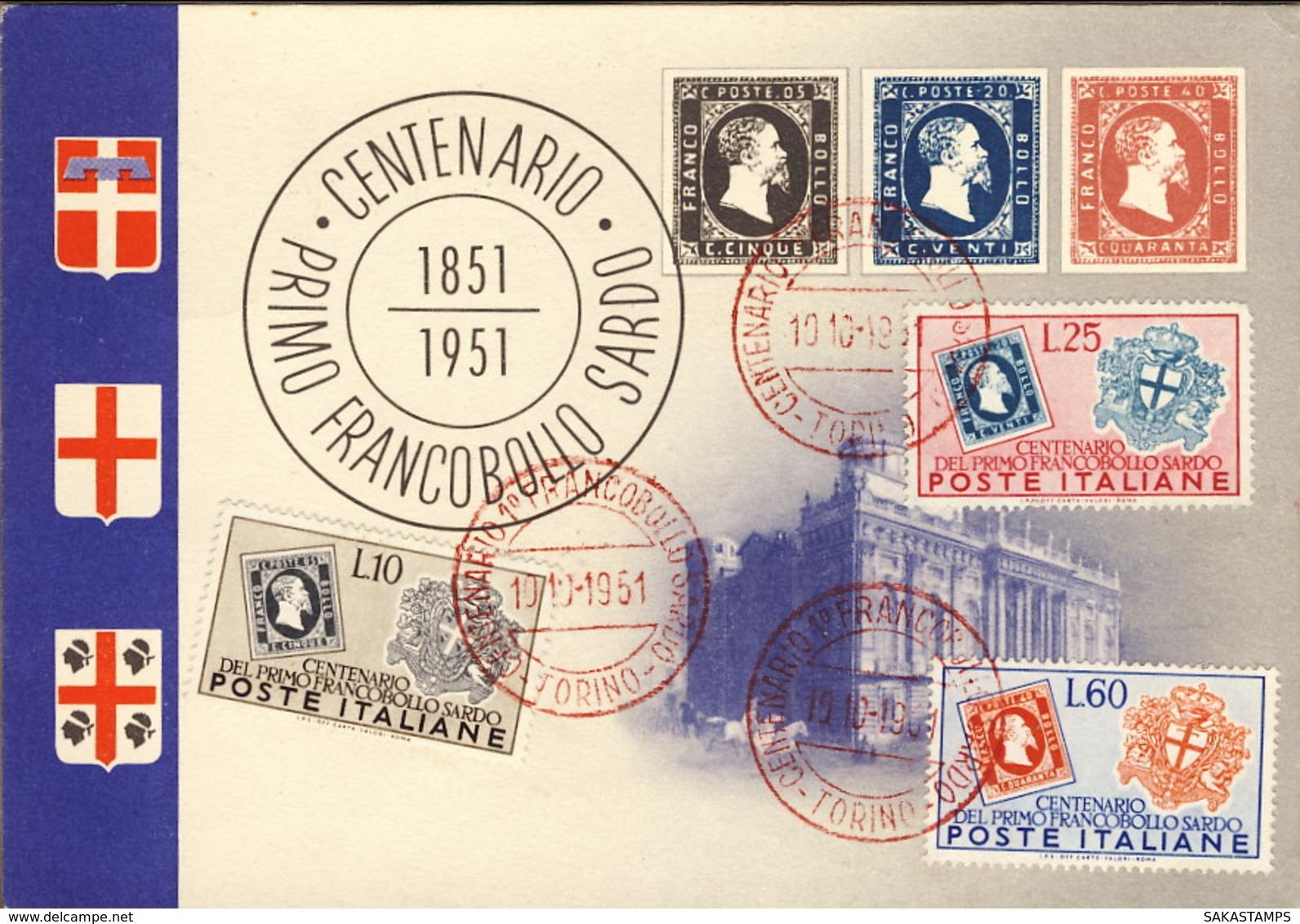 """1951-""""1851-1951 Centenario I Francobollo Sardo""""affrancata Con S.3v.""""francobolli Di Sardegna""""in Corso Particolare - Francobolli (rappresentazioni)"""