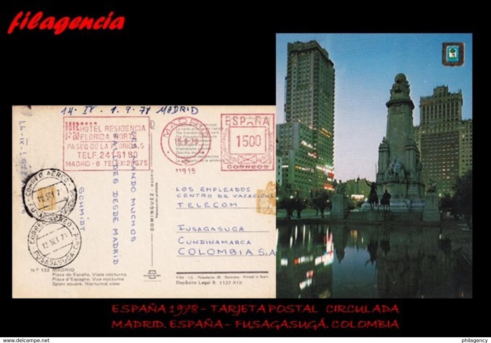 EUROPA. ESPAÑA. ENTEROS POSTALES. TARJETA POSTAL CIRCULADA 1978. MADRID. ESPAÑA-FUSAGASUGÁ. COLOMBIA. MATASELLO PARLANTE - 1931-Hoy: 2ª República - ... Juan Carlos I