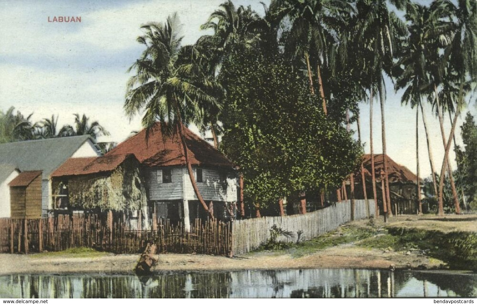 Malay Malaysia, LABUAN BORNEO, Native Houses (1910s) Postcard - Malaysia