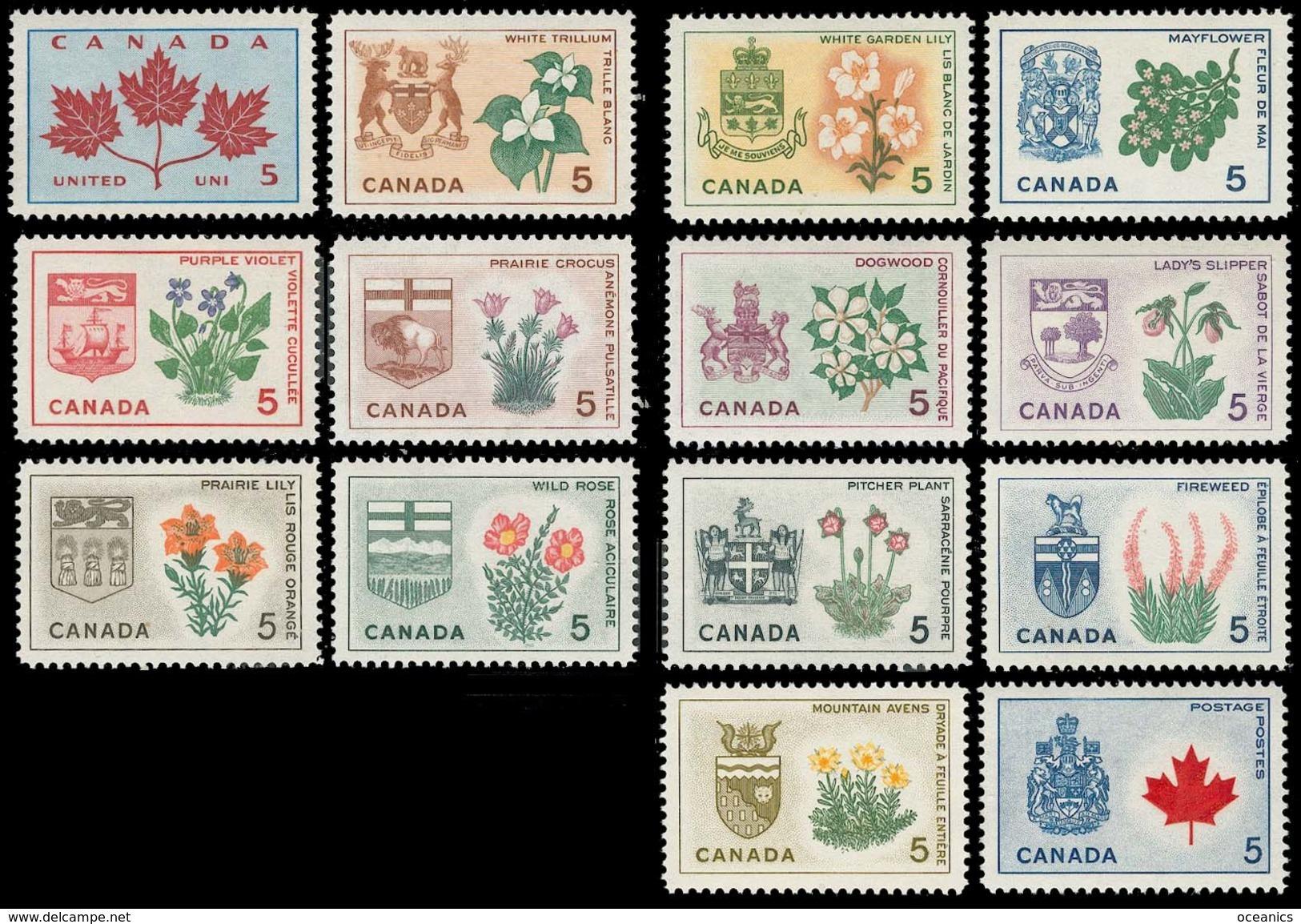 Canada (Scott No. 417-29A - Fleurs Provinciales / Provincial Flowers) (o) Serie / Set Of  14 - 1952-.... Règne D'Elizabeth II
