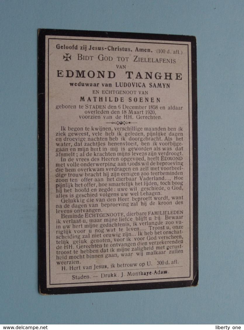 DP Edmond TANGHE ( Weduwnaar Samyn / Echtgenoot Soenen ) Staden 6 Dec 1858 - 18 Maart 1920 ( Zie Foto's ) ! - Overlijden