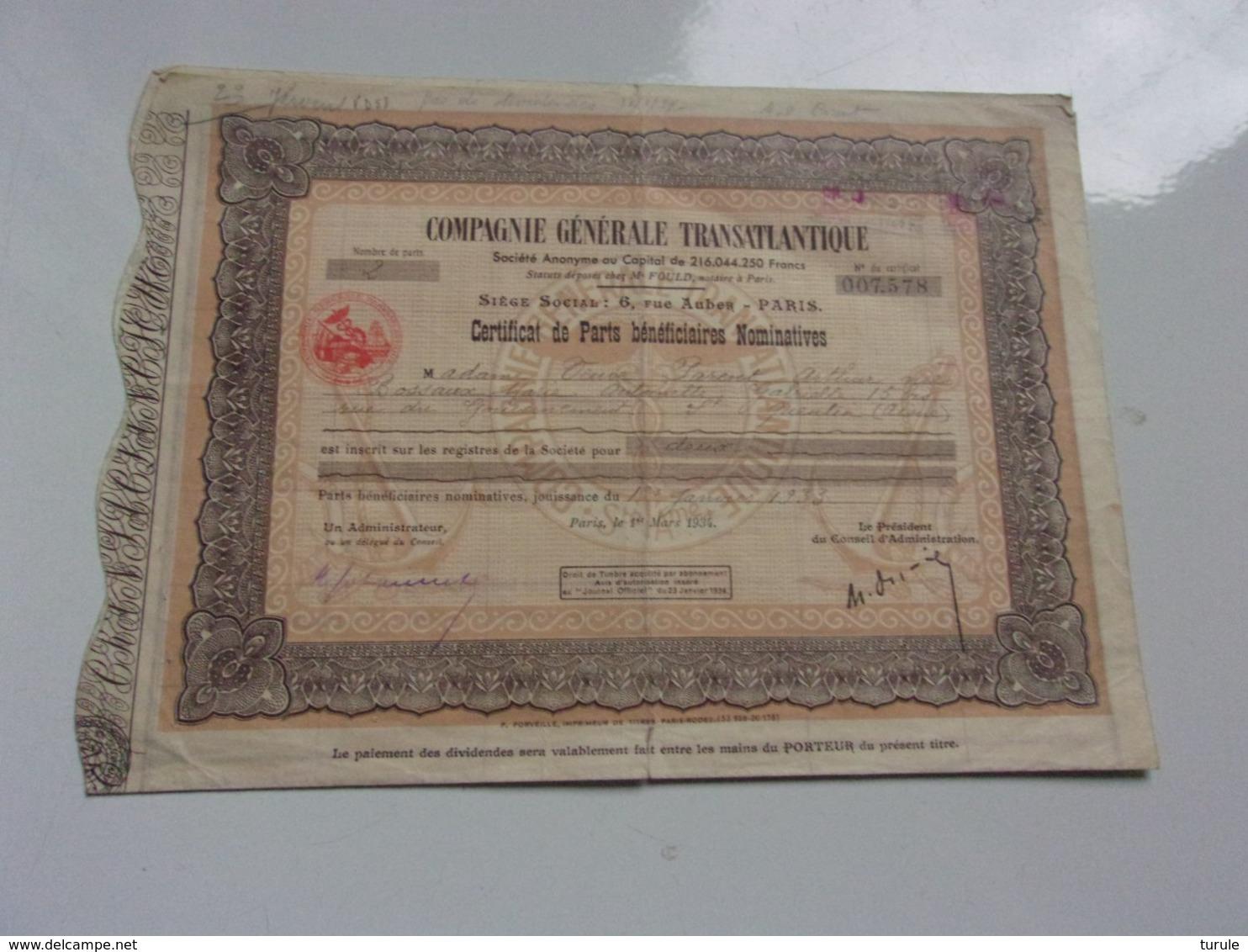 COMPAGNIE GENERALE TRANSATLANTIQUE (certificat) 1934 - Shareholdings