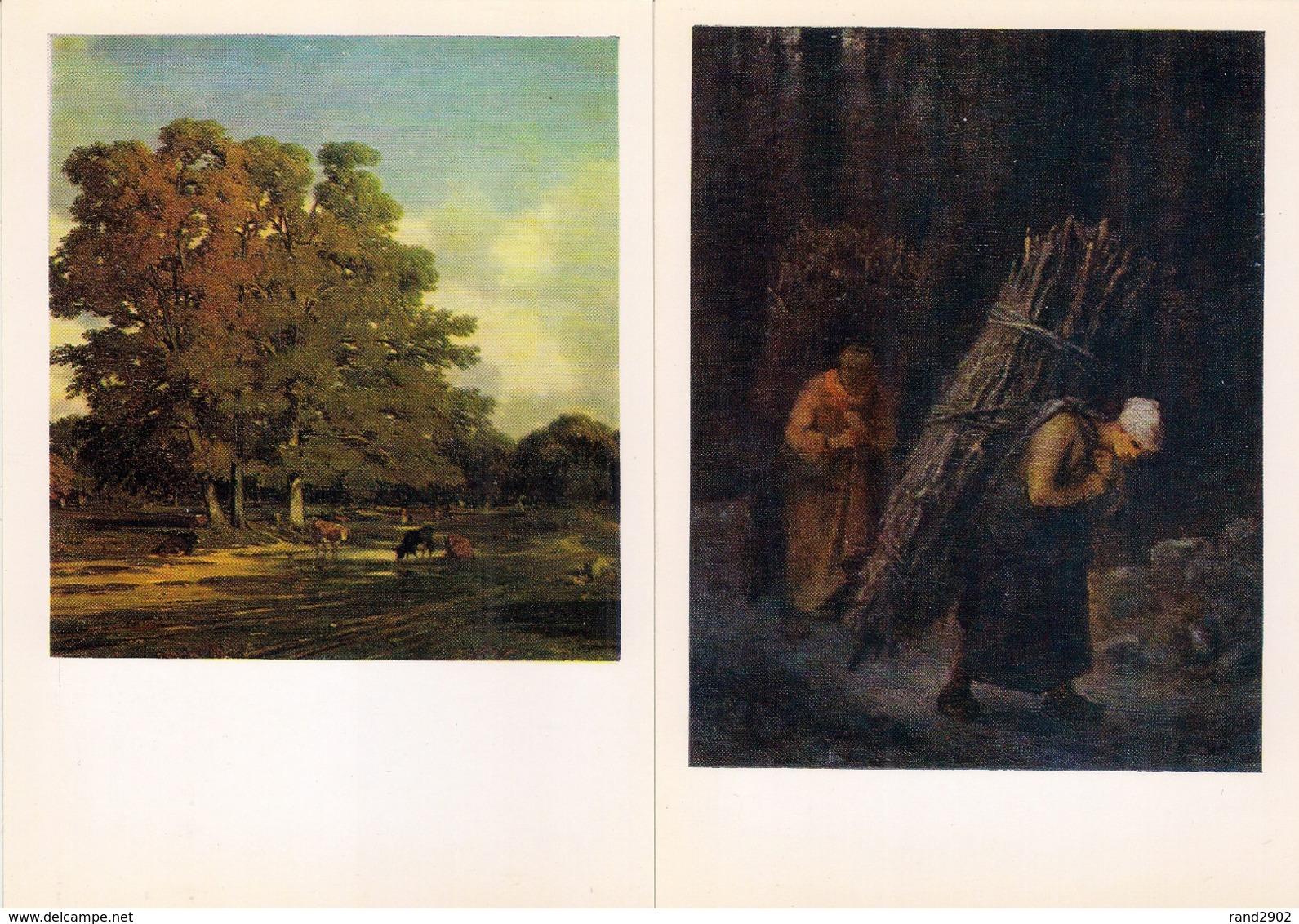 French Painting Hermitage Soviet Postcards Set 12 Pcs + Folder USSR 1983 - Ansichtskarten
