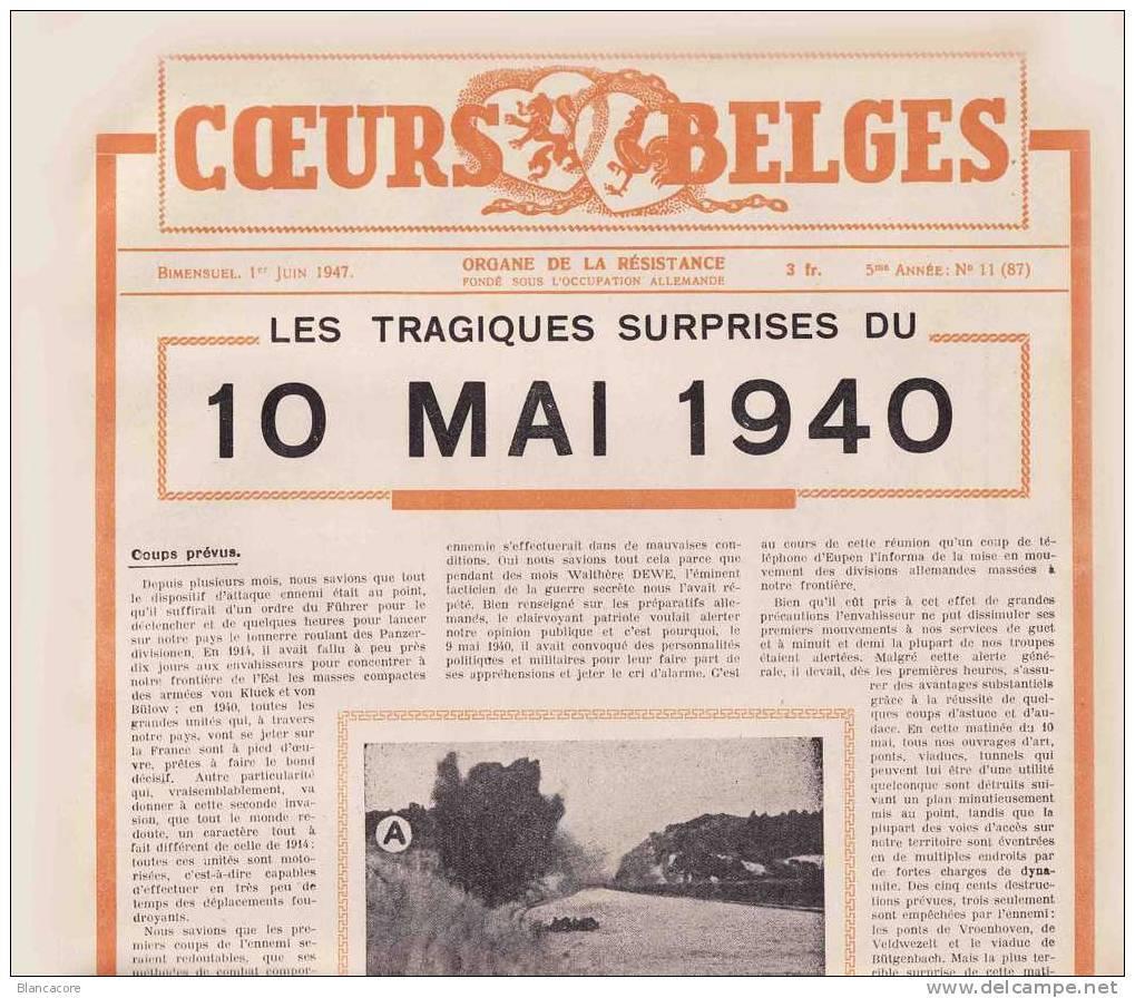 10 Mai 1940 Revue COEURS BELGES  Résistance / Guerre 40-45 Eben Emael Butgenbach Hergenrath Weywertz - Belgium