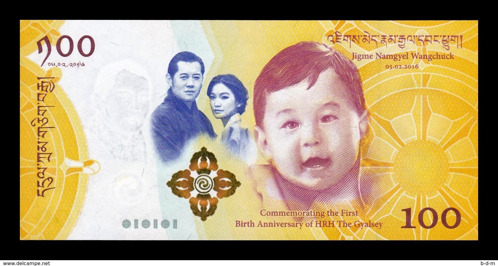 Bhutan 100 Ngultrum 2016 Pick 37 Comm. Royal Baby SC UNC - Bhutan