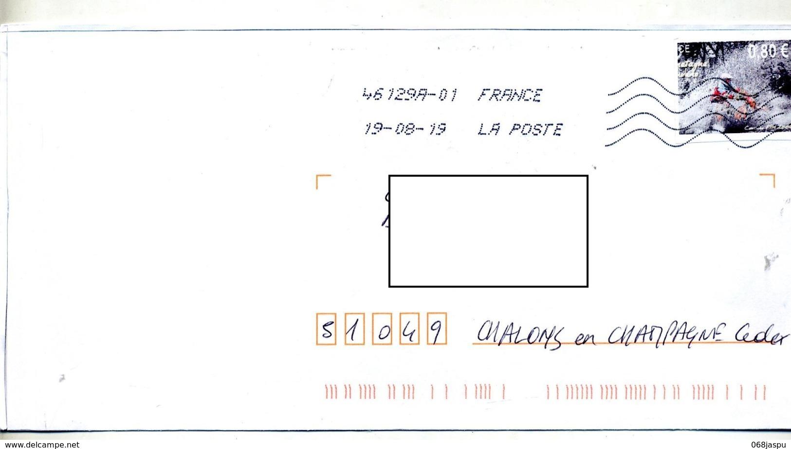 Lettre Flamme Chiffree Sous Code Sur Vignette Photocopie Timbre En Ligne Moto Curiosité - Marcophilie (Lettres)