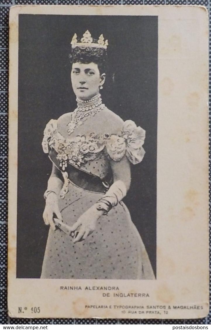 11.226) Portugal Queen Alexandra Rainha De Inglaterra Ed. Papelaria Typographia Santos & Magalhães /vincado Bent Margin - Familias Reales